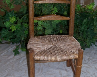 Vintage Wood and Rattan Chair with Rush Seat- Perfect for Dolls or Bears