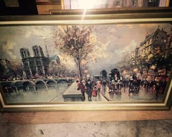 Mid Century French Impressionist Paris Street Scene Print-Signed LOUIS DANCOURT