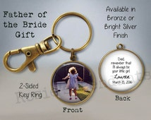 FATHER of the BRIDE Gift - Your Custom Photo with Your Name and Wedding Date - Mother of the Bride Gift - 2-Sided Photo Key Ring