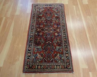 Red Persian Rug Vintage Oriental Rug 2' 2 x 4' 3 Sarouk