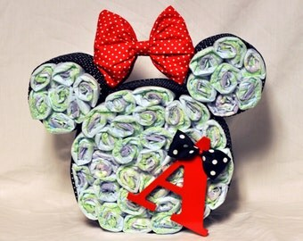 Monogrammed Minnie Mouse Diaper Cake