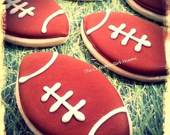 Football Cookies- Sugar cookies 1 DOZEN