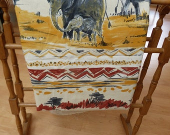 Extra Large Heavy Printed Cotton 'Mother and Baby Elephant' Upholstery Fabric