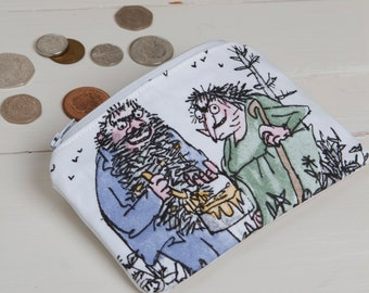 The Twits coin purse, The Twits zippered purse, Kids coin purse, Roald Dahl purse, Roald Dahl coin purse, The Twits, stocking filler