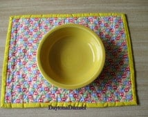 Quilted Dog Bowl Placemat 11 X 14 inches, Dog Bone Print, Yellow Binding, Dog Gift, Floor Protector