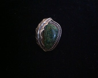 Turquoise and Silver Leaf Ring