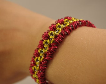 Red and Yellow Chainmail Bracelet
