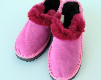 40% SALE OFF Women Slippers, Pink Fur Slippers, Womens Slippers, Handmade Slippers, Leather Slippers, House Slippers, Warm Slippers