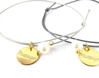 engraved BRACELET with real pearl