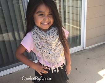 Crochet Triangle Scarf/ Made to Order/Sizes Toddler to Adult/ Fringe Scarf