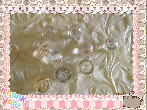 0: )- CABOCHON -( Rainbow AB Resin Drop Buttons