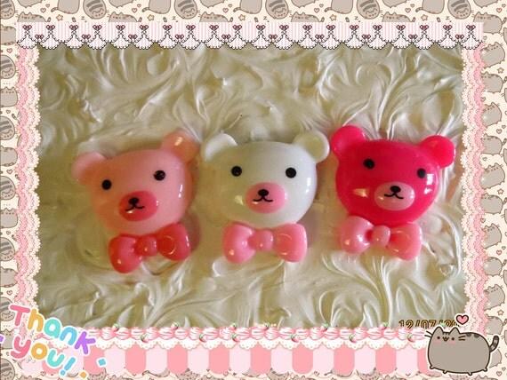 0: )- CABOCHON -( Rainbow Teddy Bears LARGE