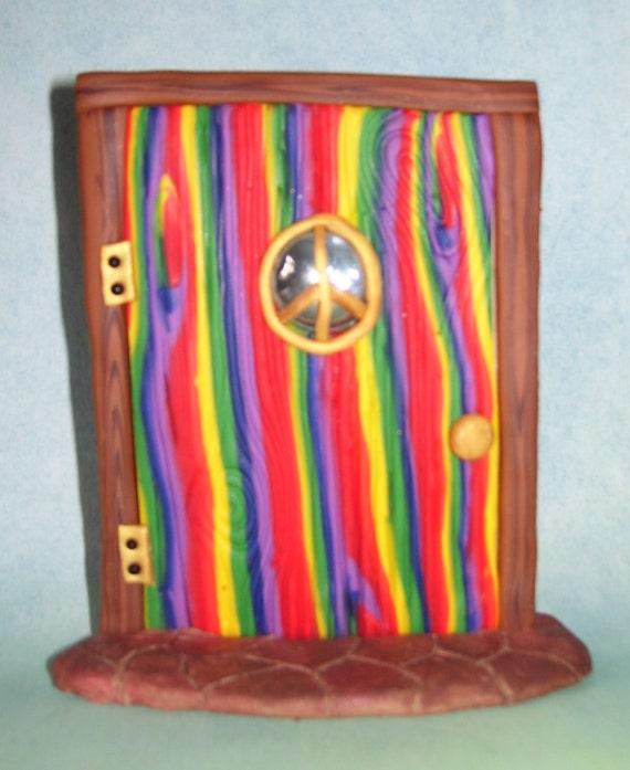 Rainbow wood-grain peace sign fairy door