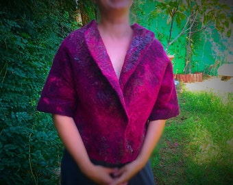 FELTED JASKET with  a short sleeves