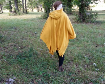 Hooded Poncho, Yellow Hooded Cape