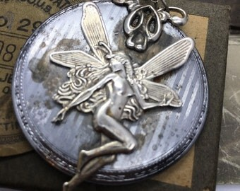Steampunk fairy necklace vintage pocket watch plate handcrafted artistic jewelry -The Victorian Magpie