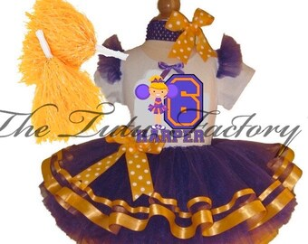 LOUISIANA Cheerleader Tutu Set . Purple Gold Tutu . Custom Colors Available . Infant thru Size 10
