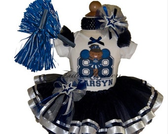 DALLAS Cheerleader Tutu Set . Navy White Tutu . Custom Colors Available . Infant thru Size 10