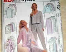 Robe and Nightgown, Pajamas pattern, McCalls 9651 Sewing Pattern, Size XS - Med, Nightgown, Robe, And 2 piece sets, Sleepwear, Epsteam