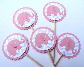24 Pink Elephant Baby Shower Toothpick Cupcake Toppers, Chevron, Food Picks, Theme Party Picks, Ships in 3-5 Business Days
