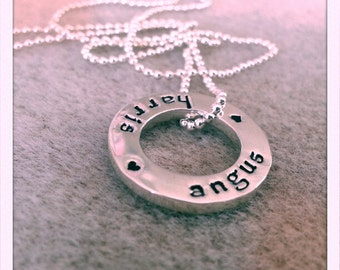 Sterling silver handstamped washer with sterling ball chain