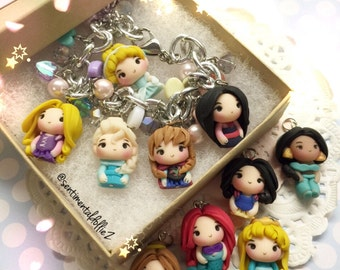disney princess, elsa, cinderella, belle, disney princesses, Chibi Magical Princesses Group Bracelet - Please PICK (5) and let me know!