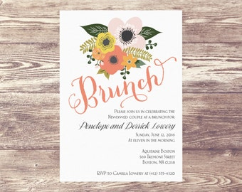 Wedding Brunch Invitation, Wedding Brunch Invite, Day After Brunch Invitation, Rise and Shine Brunch, Champagne Brunch, Brunch and Bubbly