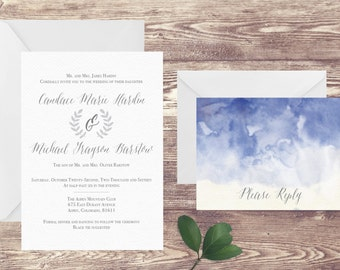 The Aspen Wedding Invitation and RSVP Set, Elegant Wedding Invitation, Watercolor Wedding Invitation, Wedding in the Mountains
