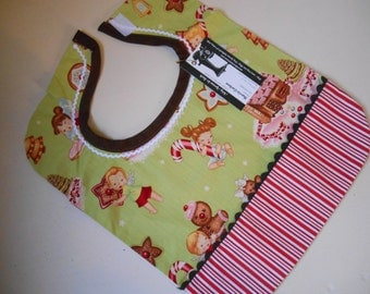 Gingerbread Toddler Bib, Mint Green, Red, White, Candy Cane Stripe, Crumb Pocket, Reversible