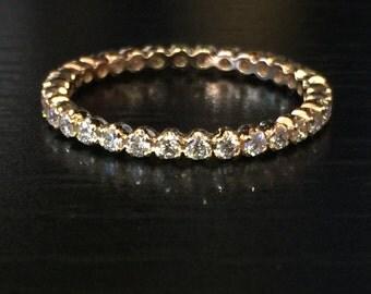 14k Rose Gold Full Diamond Eternity Band 2mm Thin Stackae