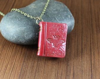 Book Pendant necklace ~ Red ~ Bee