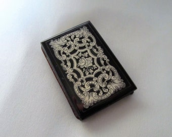 SALE Antique French Carnet de Bal with Illustrations,  Inlaid Silver Laquer Dance Card, 1850s