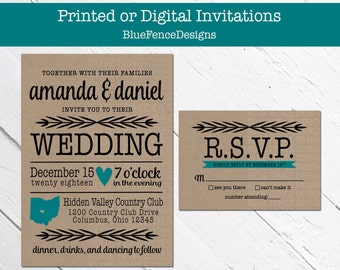 Kraft Wedding Invitation Modern State, Casual, Wedding Invite, Elegant, Reception  Only,