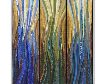 Nautical art. Modern art quilt. 38x42 inches. Pieced and quilted. Original textile art. Contemporary fiber. Wall art. Nautical quilt. OOAK.