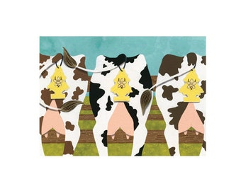Cow Air Freshener Wall Art Illustration Farm Pasture Green Nature Limited Edition Print