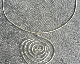 Swirl Sterling Silver Pendant on Neck Wire Necklace