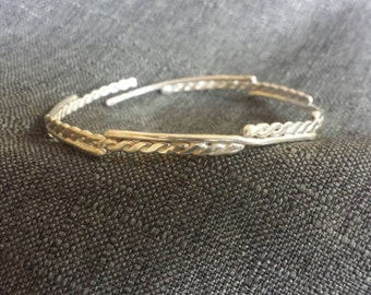 Twisted and Straight Wire Bangle Bracelet