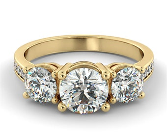1.00 CTW Certified Three Stone VS Diamond With Accent Engagement Ring 14k Yellow Gold VS Diamond Ring