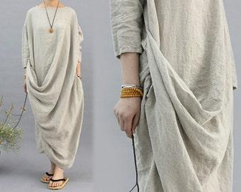 327---Linen Drape Dress, One Size Fits Many.