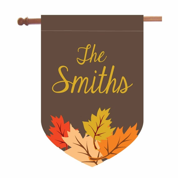 Personalized Fall Leaves House Flag