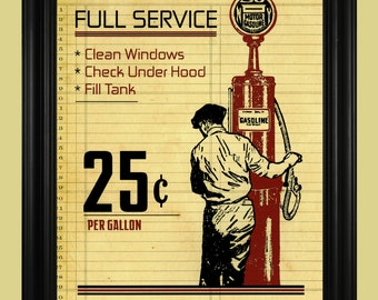 Vintage Gas Pump Illustration, Gas Station Art Print, Old Fashioned Gasoline Poster, Antique Auto Sign