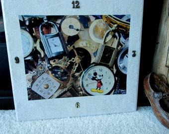 Clock, time piece,tile, tile clock, home decor, watches,