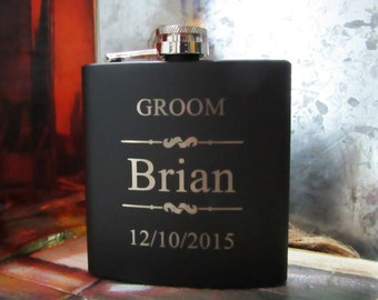 Groomsman Gift // Groomsmen Gift // Wedding Party Gift // Groomsman Flask Set