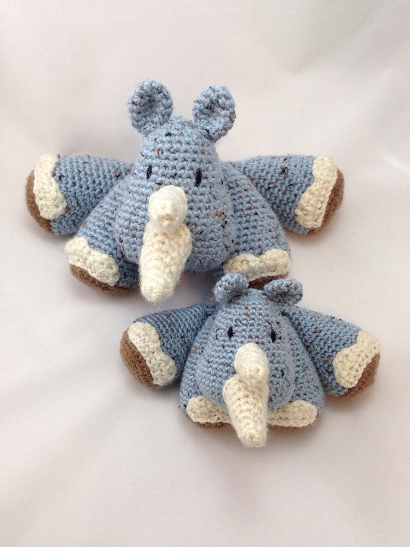 Rhinoceros Crocheted Amigurumi Doll by WickedChildCreations