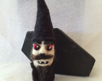 Gnomepyre™ Vampire Gnome in Black Coffin Gift Box, 100% Wool - Original OOAK 3D Needle Felted Sculpture for Halloween - Gift Boxed