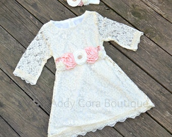 Little Girls Lace Dress with OPTIONAL Floral Sash and Headband Blush Pink or Ivory
