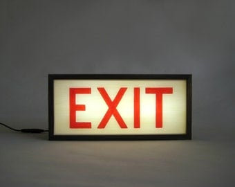 "Hand-Painted Lighted Vintage ""EXIT"" Sign Wooden Lightbox Signs / Light-Up /  Night Light / Industrial / Rustic / Home Cafe Decor"