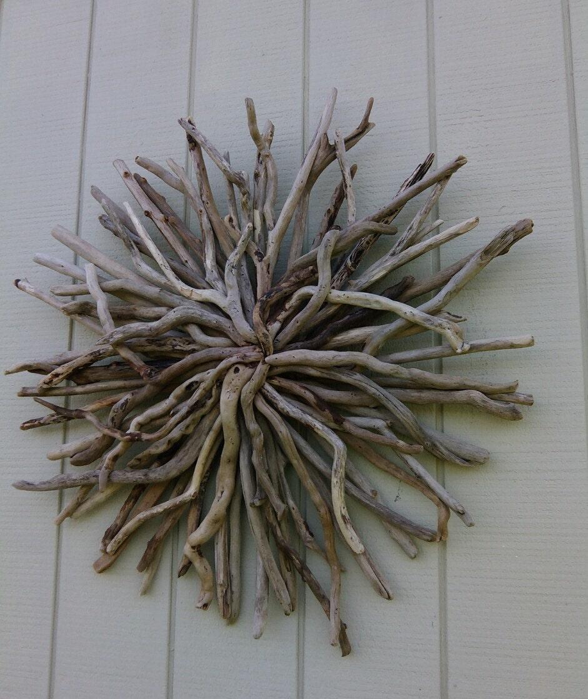 Twisted driftwood sunburst wall art round wood wall sculpture for Driftwood wall