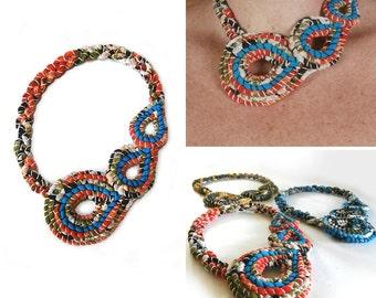 Tropical Flower Fabric Bib Necklace, Colorful Necklace, Statement Necklace, Tropical Flowers, Hypoallergenic, Asymmetrical Jewelry