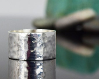 Wide Silver Band - Sterling Silver - hammer textured